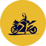 Girl on motorcycle. Vector drawing girl on sport motorcycle Royalty Free Stock Photo