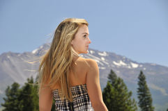 Girl with mountain. Beautiful gir with mountain in background Royalty Free Stock Photo