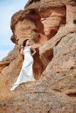 Girl on the mountain Stock Photos