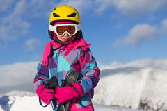 Girl on the mountain Stock Photography