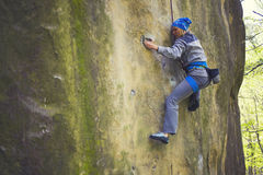 Girl mountain climber. Royalty Free Stock Images