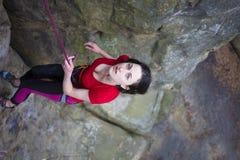 Girl mountain climber. Royalty Free Stock Photo