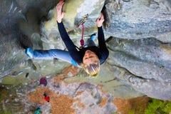 Girl mountain climber. Royalty Free Stock Image