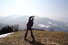 Girl on mountain Royalty Free Stock Photos