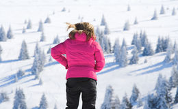 Girl and mountain landscape Royalty Free Stock Image