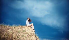 Girl on a mountain Royalty Free Stock Photos
