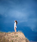 Girl on a mountain Royalty Free Stock Photos