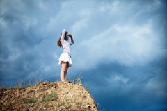 Girl on a mountain Royalty Free Stock Photography