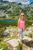 Girl on Mountain Pirin Stock Images