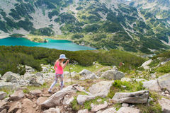 Girl on Mountain Pirin Stock Photo
