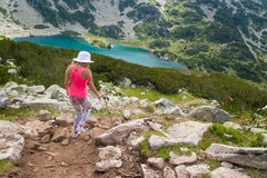 Girl on Mountain Pirin Royalty Free Stock Image