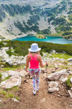 Girl on Mountain Pirin Royalty Free Stock Photos