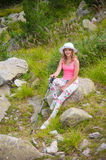 Girl on Mountain Pirin Royalty Free Stock Images