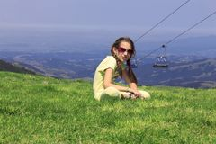 Girl on the mountain Stock Image