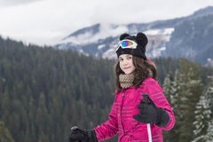 Girl at the mountain Stock Photography