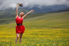 The girl in mountains Royalty Free Stock Photography