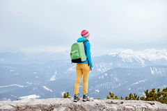 Girl in mountains Royalty Free Stock Photo