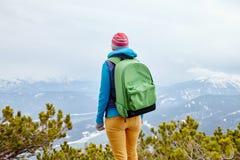 Girl in mountains Stock Photos