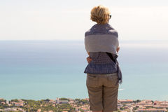 Girl with mountains Coast Royalty Free Stock Image