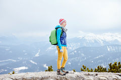 Girl in mountains Royalty Free Stock Photography