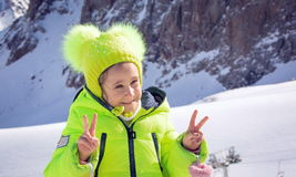Girl in the mountains. Stock Images