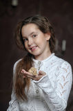 Girl with a mouse Royalty Free Stock Photo