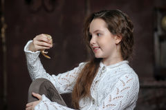 Girl with a mouse Stock Photography
