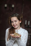 Girl with a mouse Royalty Free Stock Images