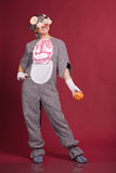 Girl in mouse costume Stock Images