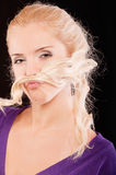 Girl with moustache Royalty Free Stock Images