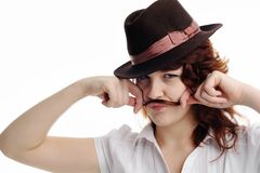 Girl with moustaches Stock Image
