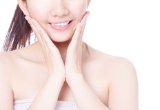 Girl mouth closeup with smile and hand touch face Stock Photos