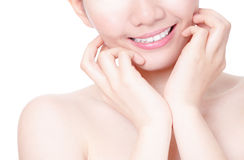 Girl mouth closeup with smile and hand touch face Stock Photography