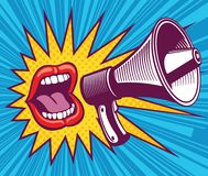 Girl mouth with megaphone. Vector illustration in pop art style. Mouth and megaphone speech, female screaming announce illustration royalty free illustration