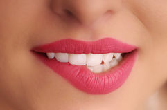 Girl mouth with red lips Stock Photo
