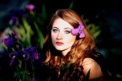Girl, Mov, Flowers, Iris, Blue Eyes Stock Image