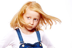 Girl move hair. Girl move her hair with impressed look stock photography
