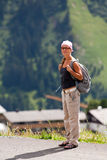 Girl on move in mountains Stock Image
