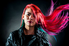 Girl movement colour hair magnificent Royalty Free Stock Photo
