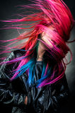Girl movement colour hair magnificent Stock Photo