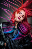 Girl movement colour hair magnificent Stock Image