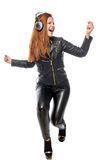 Girl moves actively to the beat Royalty Free Stock Images