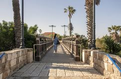 Girl walking on the bridge on a sunny day royalty free stock photo