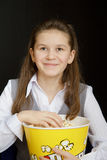 Girl in a movie theater Stock Photo