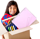 Girl moving house Stock Photography