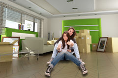 Girl moving out Royalty Free Stock Image