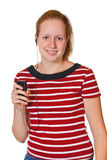 Girl with mp3 player Royalty Free Stock Images