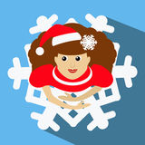 The girl Mrs. Santa Claus in a red cap with snowflake in hair. the top view, looks up. skirt in look . Dance, dances. On blu stock illustration