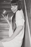 Girl with mug Royalty Free Stock Photography