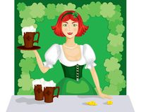 Girl with a mug of ale royalty free illustration